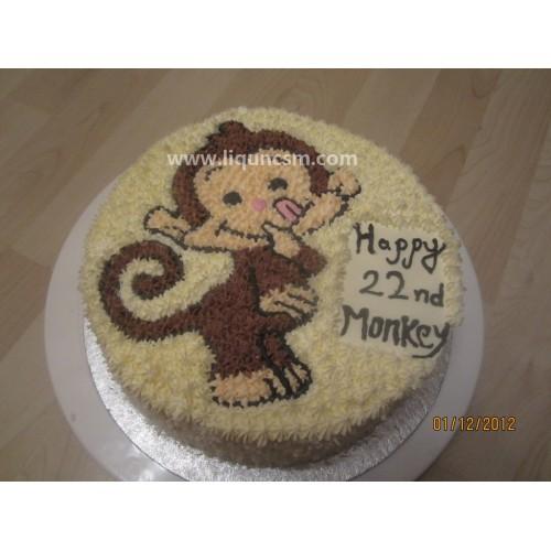 可爱猴造形鲜忌廉蛋糕c